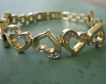 Heart Shaped and Rhinestone Link Bracelet