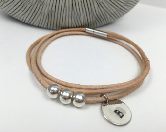 Triple Wrap Natural Leather Initial Bracelet, Leather Bracelet, Custom Bracelet,Three Bead Bracelet, Leather Bangle,Women's Leather Bracelet