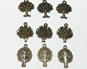 9 tree mix charms bronze tone 30mm # CH 505