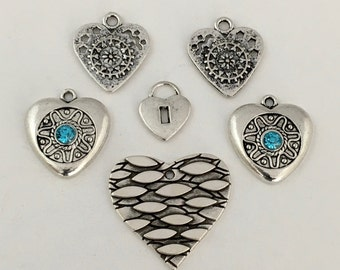 6 heart charms collection antique silver, 16mm x 28mm # CH 287