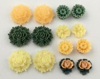 14 pcs resin cabochon flowers ,assorted sizes,#FL071