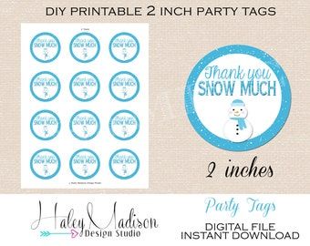 Snowman Thank you tags, Favor tags, Gift Tags, INSTANT DOWNLOAD