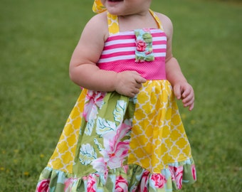 SALE!! Ready to ship  summer dress - Toddler sun dress - Floral dress - Bright sun dress