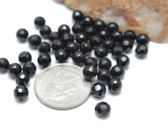 Faceted Black Onyx Balls 6mm 12pcs