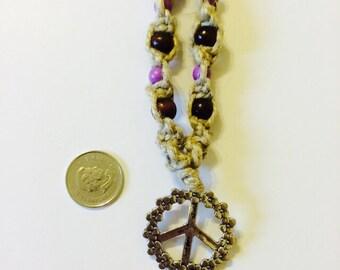 Macrame Hemp Peace Sign Necklace  Purple Beaded, Hemp Necklace, Hemp Jewelry, Beaded Jewelry