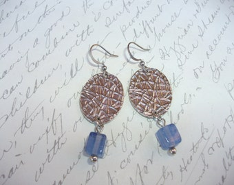 Silver coin and blue cube earrings
