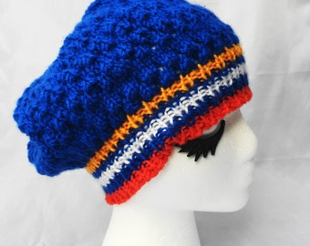 Sapphire and coral eyelet slouchy tam