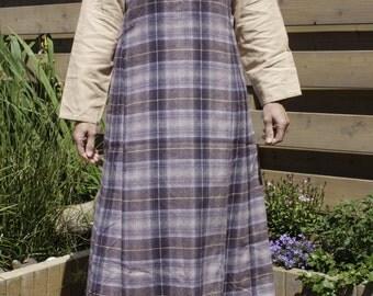Purple checkered woolen overdress