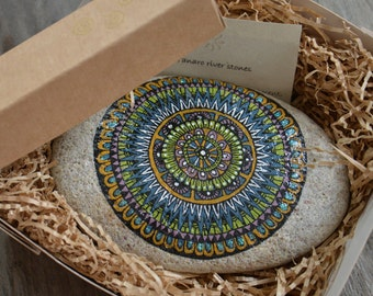 Mandala MultiColor painted on river stone