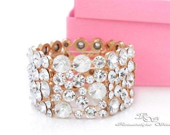 GOLD crystal cuff, Bridal rhinestone cuff, Wedding bracelet, Crystal statement bracelet, Statement cuff for weddings, Bridal jewelry B0158G