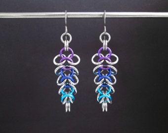 Chainmaille Earrings, Ombre Earrings, Hypoallergenic Dangle Earrings, Stainless Steel Earrings, Chain Maille Jewelry, Chain Mail Earrings