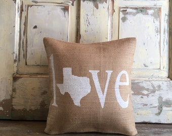 Burlap Pillow - Love (your state) pillow | Customize your State | Mother's Day Gift, | Graduation Gift | gift for him, gift for mom