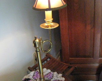 Reduced by 20.00 Dollars. Vintage French Horn Twirl Style Single Bulb Lamp with Worn Brass Patina and a Previous Life!!