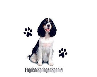 English Springer Spaniel Dog T SHIRT, ( Sweatshirt, Quilt Fabric Block, Tote Bag, Apron, Available On Request)  #910j