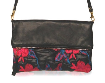 Two tone Foldover crossbody bag with removable strap, black leather with flower quilted fabric