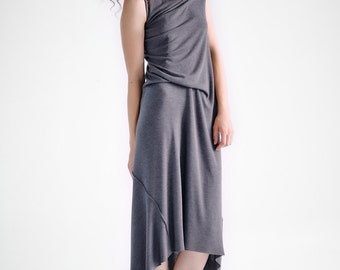 NEW / Brown-Grey Drape Dress/ Loose Casual Dress/ Asymmetrical Sleeveless Dress by AryaSense / DRL15BG