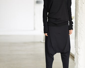 Black Top/ Oversized Long Sleeved Blouse/ Black Bat Top/ Loose Top by Arya Sense/ BATD14BL