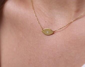 Evil eye necklace,  Minimal evil eye,  Solid gold evil eye,  Evil eye charm, Rose necklace,   Diamond evil eye,  Black diamond