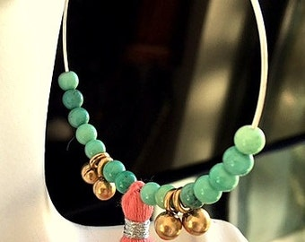 Large Sterling Silver Hoop with Colorful Tassel and Chrysoprase Beaded Earrings