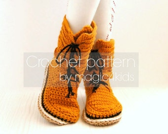 Crochet pattern- toddler slipper boots with rope soles,soles pattern included,lace,for kids 1 yo- 10 yo,girl,footwear,home shoes,cord,twine