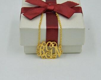 Gold monogram bracelet-monogrammed bracelet-sterling silver monogram jewlery plated 18K gold-women gift