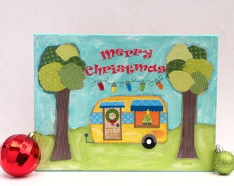 Christmas Camper Painting - Christmas At The Campground - Whimsical Trailer - Original Mixed Media Art - Gift For Adventurer, Traveler
