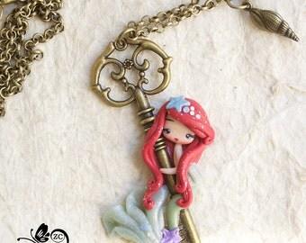 polymer clay necklace/ Ariel clay/ fimo  / zingara creativa / disney princess / princess polymer clay