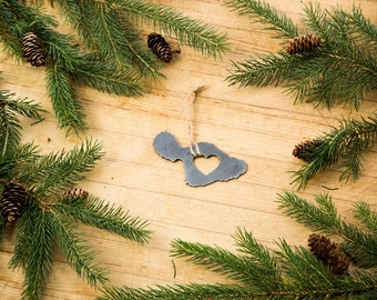 Love Maui Christmas Ornament Rustic Metal Ornament Recycled Steel Holiday Gift Industrial Decor Wedding Favor