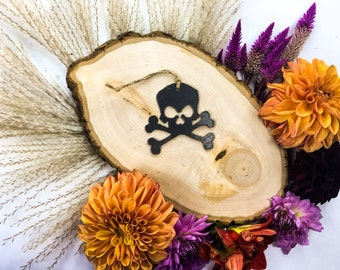 Skull and Crossbones Pirate Christmas Ornament Rustic Metal Ornament Recycled Steel Holiday Gift  Industrial Decor Wedding Favor
