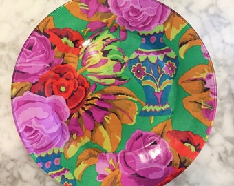 Hand Decorated Bright Mexican Colors Fabric Decoupage Plate