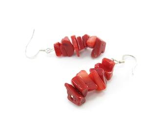 Vintage Red Coral Earrings, Hooks