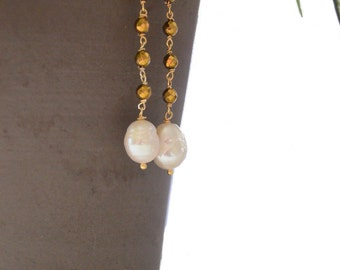Fresh water pearl and gold pyrite bead rosary drop dangle earrings
