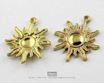 5 pcs  25x28mm Ancient Gold pendant necklace sun Charms