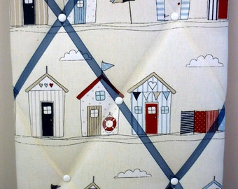 30cm x 45cm 100% Cotton Fabric Notice/Pin/Memo Board, Beach Hut, Portrait, Nautical