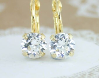 Crystal earrings,clear crystal earrings,clear leverback earrings,gold crystal earrings,gold wedding jewelry,gold Swarovski crystal earrings