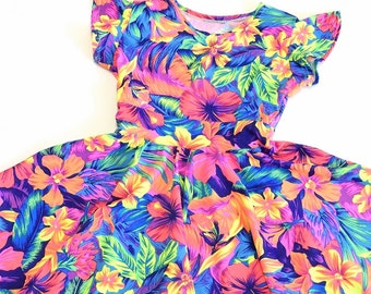 Toddlers and Girls Size Neon Tahitian Floral Flip Sleeve Spandex Skater Dress  Sizes 2T 3T 4T and 5-12   151864