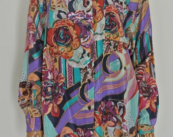 1990s Silk Blouse Avant Garde Abstract Art by Stunt Collections Size M EUC