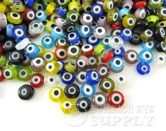 6mm Multicolor Glass Evil Eye Beads, 1 Strand (60 pcs) Flat Glass Evil Eye Beads, Evil Eye Bead