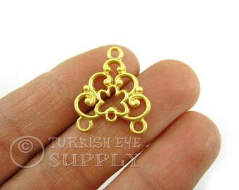 4 pc Gold Plated Multiple Loop Connector, Triple Loop Necklace Connector, Multistrand Bracelet Connector, Turkish Jewelry Supplies