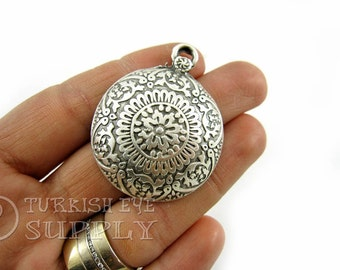 Silver Dome Tribal Pendant, Antique Silver Plated Ethnic Pendant, Turkish Jewelry Supplies