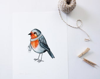 Little Robin with scarf, illustration of bird, wall decoration