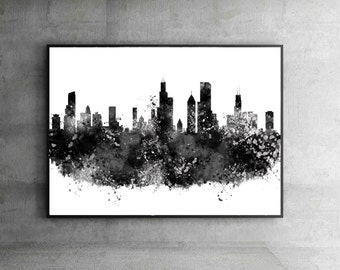 Chicago skyline, Chicago Illinois, Chicago poster, Chicago print, Chicago abstract, Chicago Wall art Chicago cityscape Home Decor, Gift.WT18