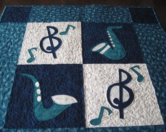 Music Quilted Wall Hanging/Table Topper - saxophones, music symbols, green and black runner, jazz