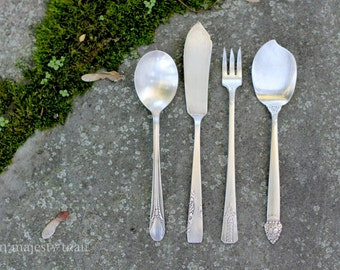 4 Silverplate Serving Pieces. Vintage. Mismatched Antique Flatware. Sugar Spoon, Butter Knife, Pickle Fork, Jelly Spoon. Rogers, Vernon.