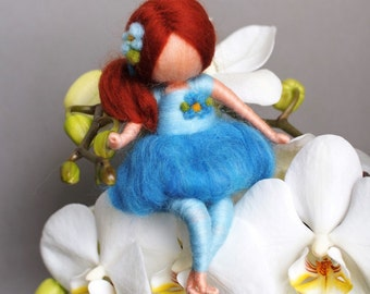 Fairy in blue, waldorf inspired,