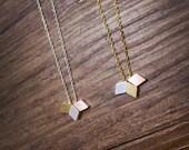 diamond necklace,triple diamond necklace, Dainty Minimal Necklace, Simple, Geometric necklace, Layering Necklace ,rhombus necklace
