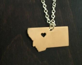 Montana Necklace, Montana, gold Montana necklace, Montana pendant, Montana jewelry, state necklace, state jewelry, state pendant, necklace