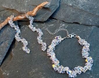 Long Swarovski Crystal Earrings and Bracelet Set-Long Evening Earrings-Silver Beaded Dangle Earrings-Weddings Earrings Set-Beaded Bracelet