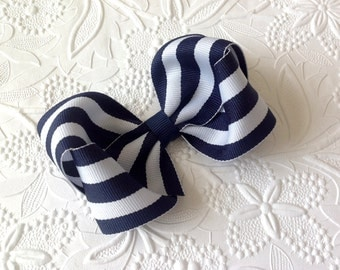Navy Hair bow, 4 inch stripe navy bow, navy blue boutique bow on alligator clip, nautical, girls bow, toddler, photo prop, baby bow
