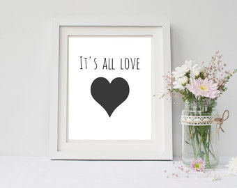 It's all love quote print, 4x6, 8x10, 11x14, 13x19 inch, wall art print poster for, dorm room, apartment, or home decor